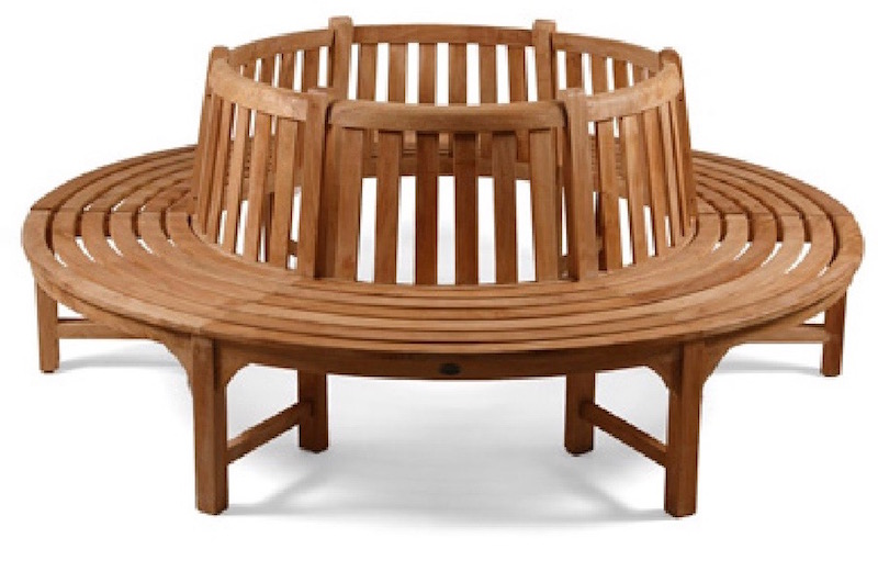 This Round Tree Seat in teak can almost hold all the family!