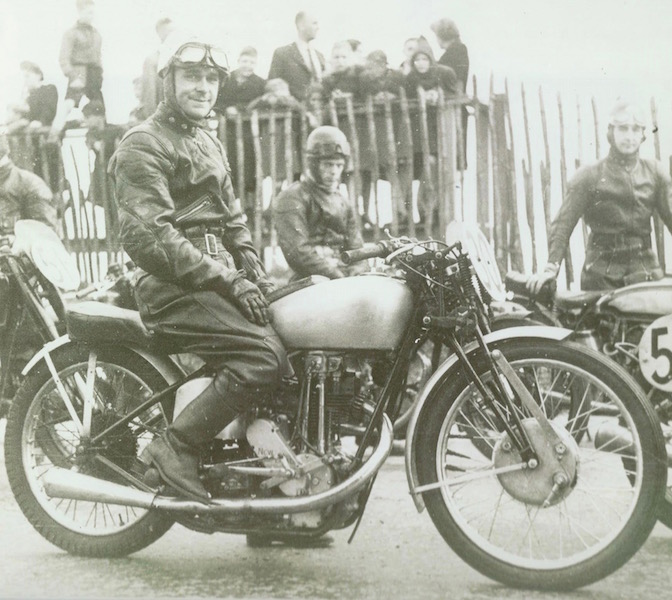 James Paterson, founder of J Paterson & Sons Ltd pictured in the 1950s at the Isle of Man TT. J Paterson & Sons Ltd now trades as Paterson ATV - Dumfries and Galloway's leading ATV centre.