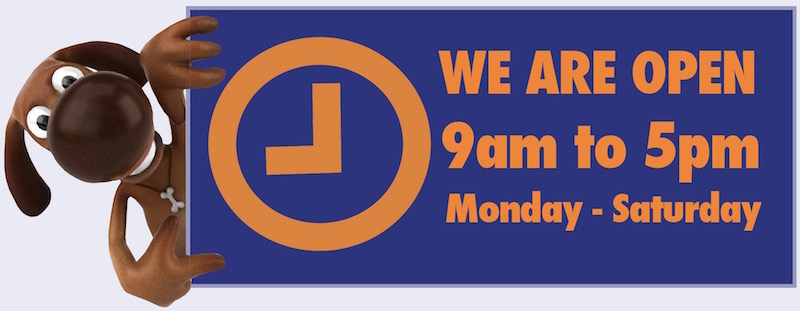 Opening hours logo, open 9am to 5pm, Monday to Saturday
