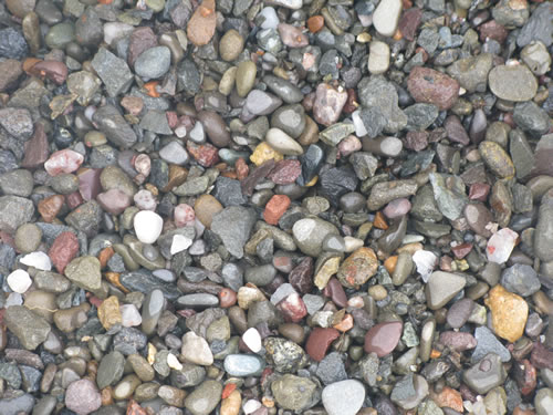 Pea gravel, a mix of small stones from the sea