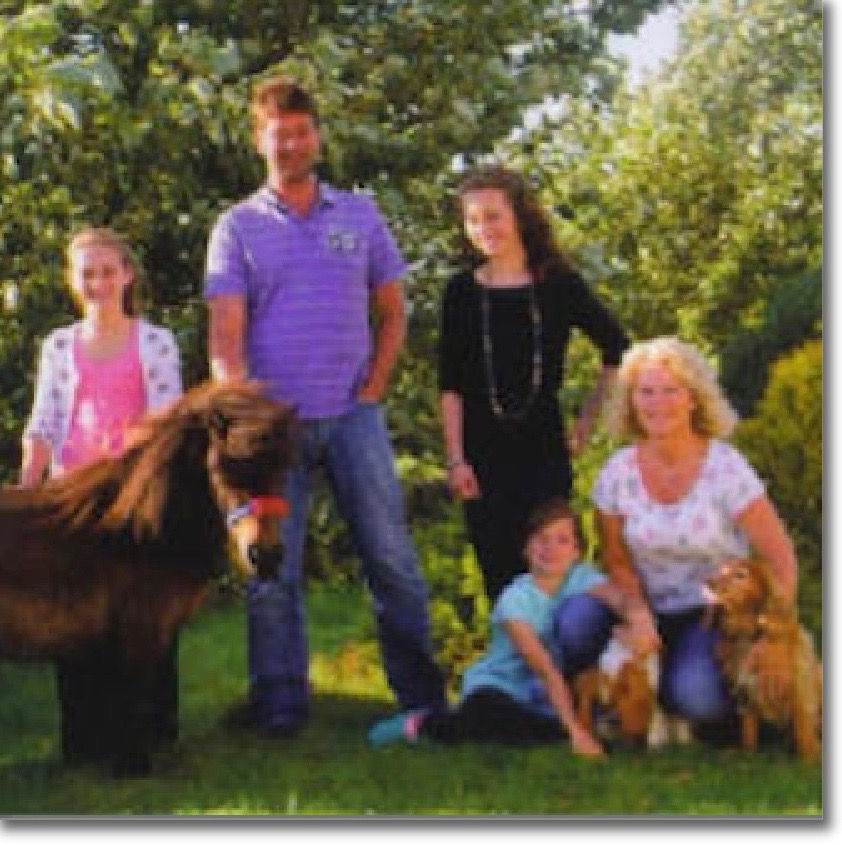 The McMyn family who all help in looking after the hens