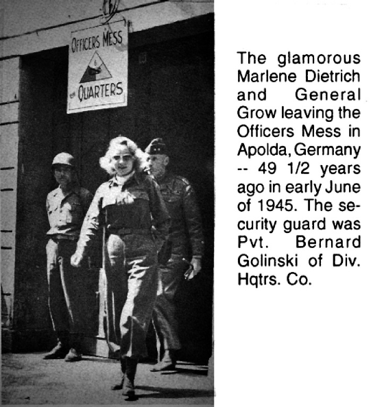 Marlene Dietrich leaving officers mess Germany