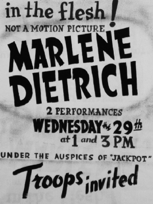 Marlene Dietrich Concert poster during the war