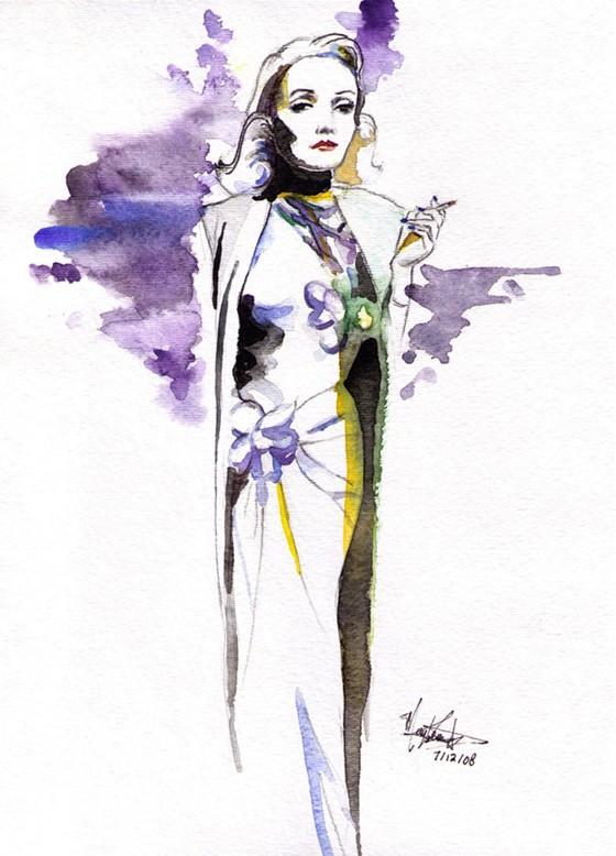 Marlene Dietrich by Maybelle Leung