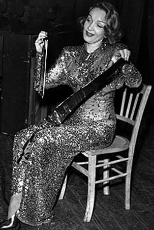 Marlene Dietrich with musical saw