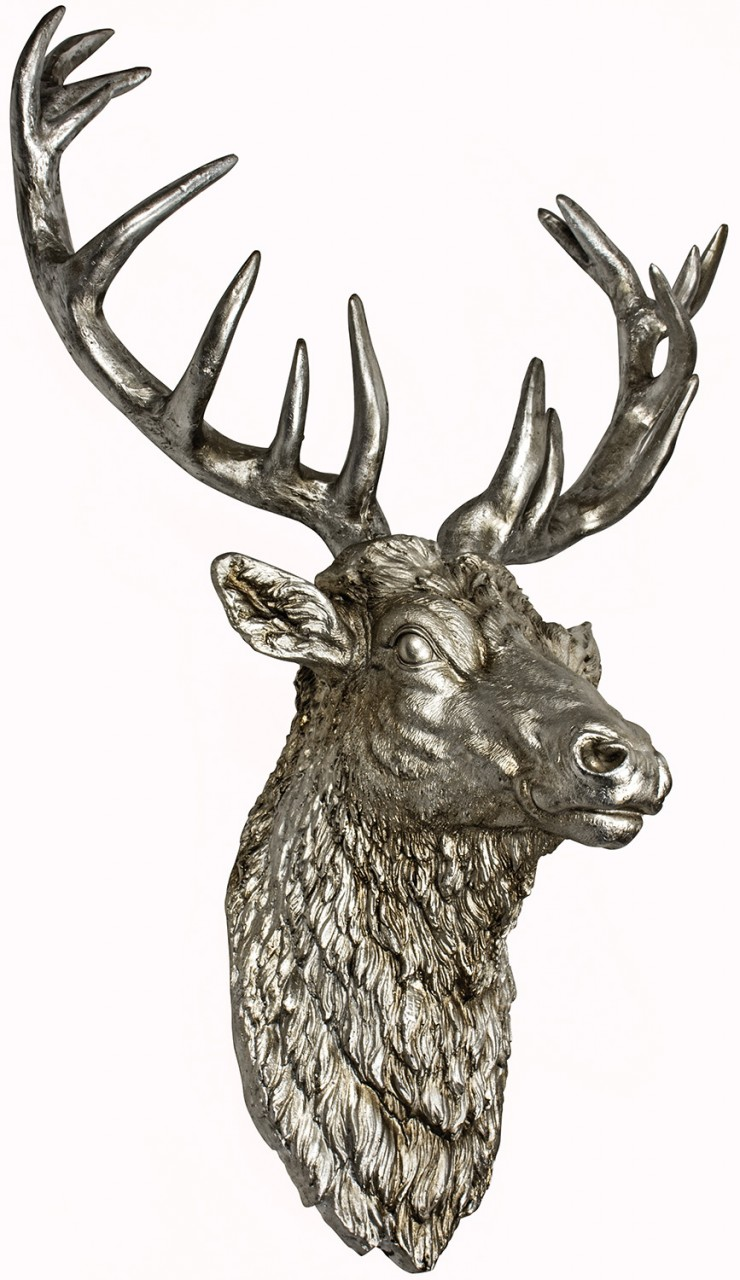 silver coloured wall mount of stags head