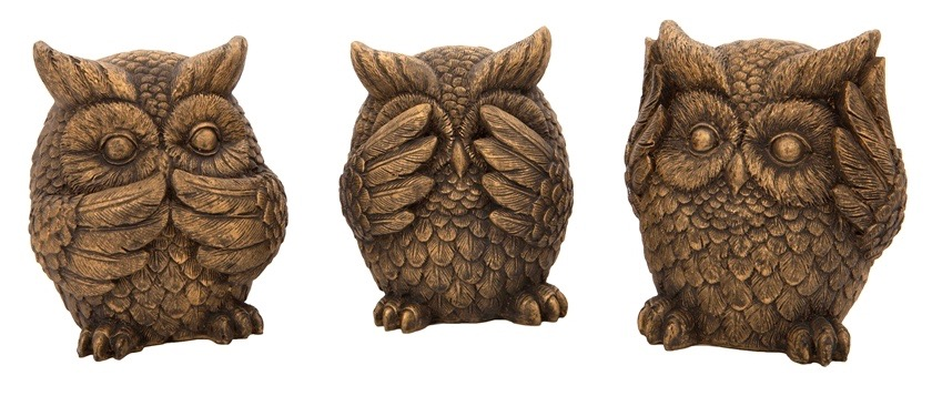 Owls in the Speak no evil, see no evil, hear no evil pose