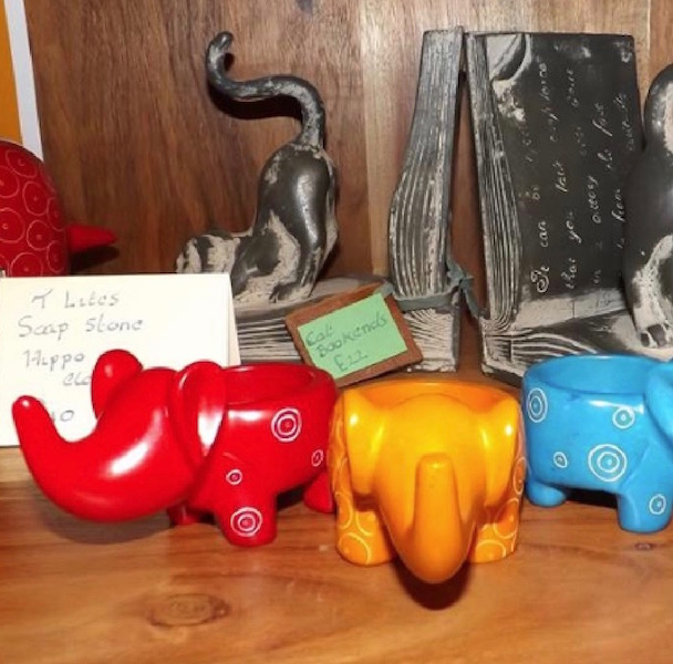 Soapstone elephant tealight candle holders