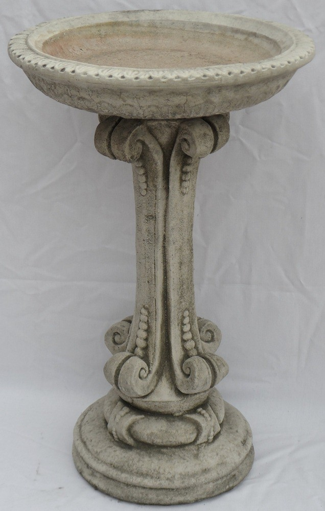 Bird bath with ornate column