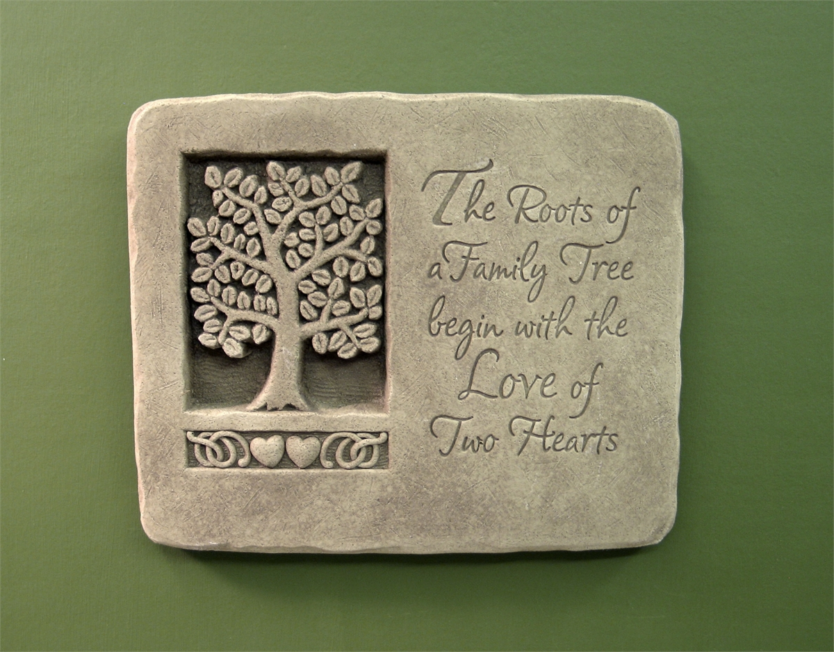 Plaque with family tree and inscription