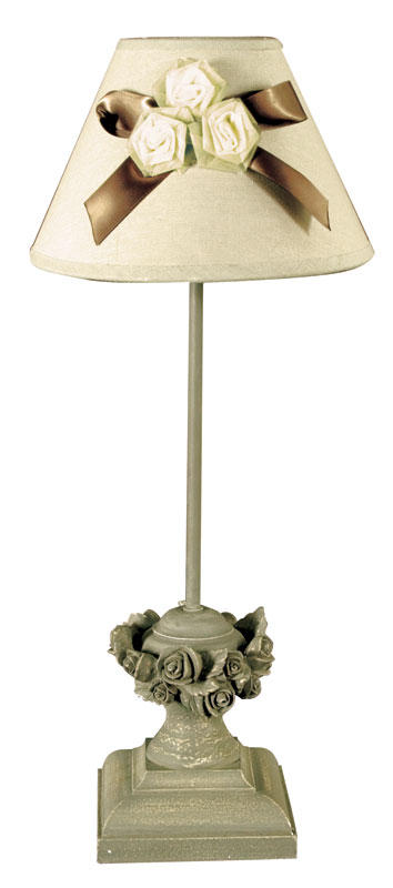 Ornate table lamp with 3 rosebuds and ribbon bow on shade