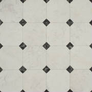 White vinyl floor covering with small black squares