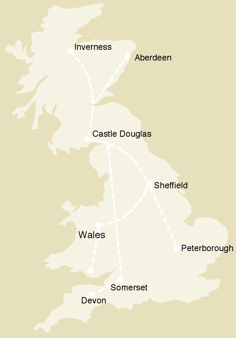 Map of Great Britain showing Castle Douglas and the routes travelled by our lorries