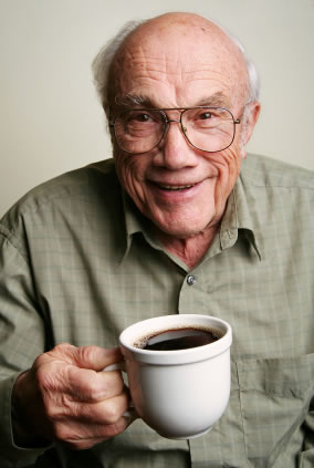Elderly gent with a cup of coffee