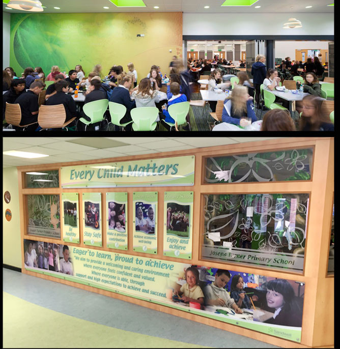 Lutterworth Dining Wall wrap, Joseph Turner Primary School Acrylic Every Child Matters display