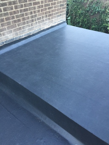 Close Up Of A Stepped Section Of EPDM Rubber Roof Coating