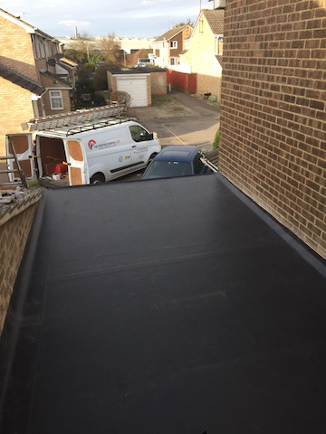 EPDM rubber roofing has now been installed on the flat garage roof