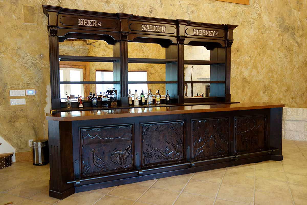 Ranch House Game and Trophy Room Saloon Bar designed by Catrina's Interiors