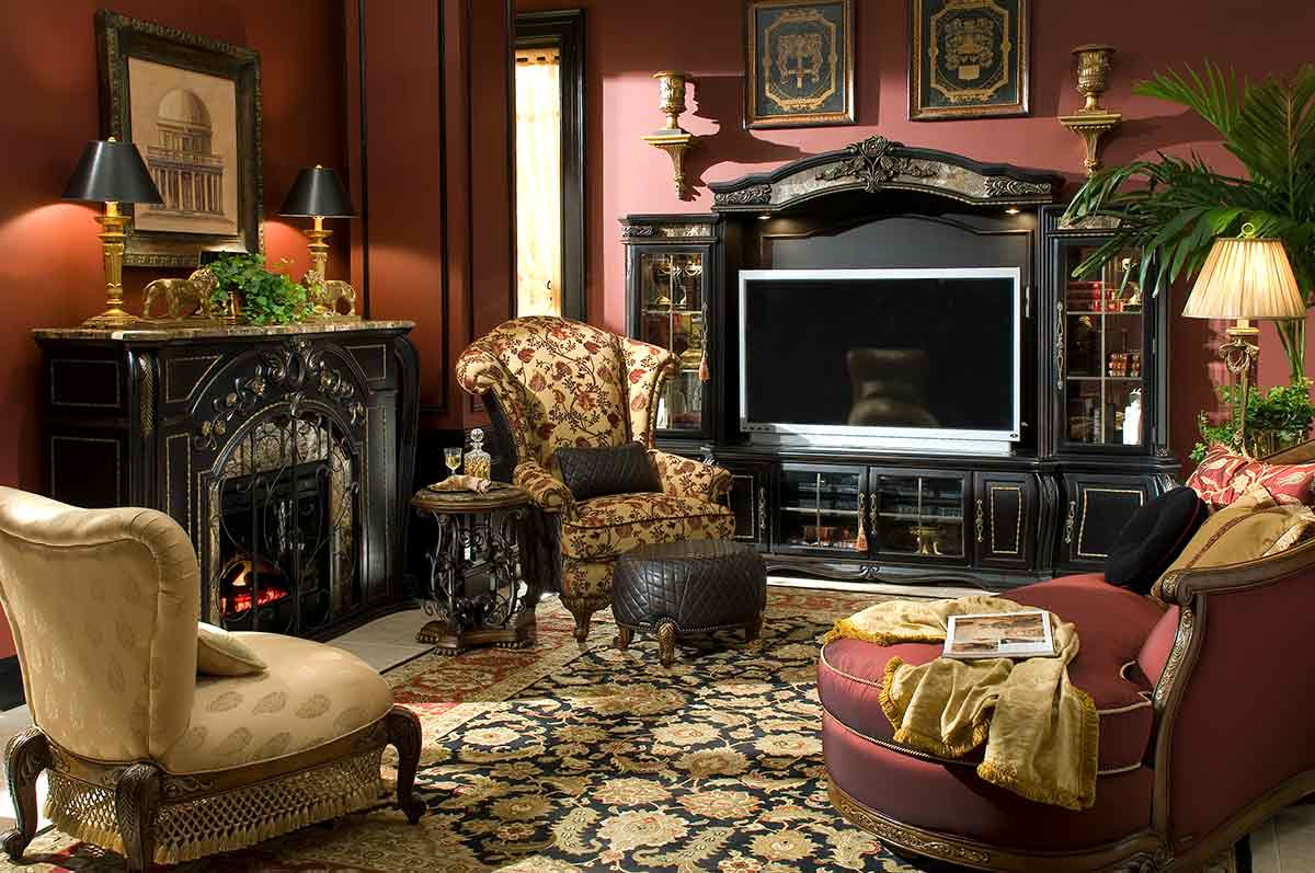 The Oppulente living room and entertainment center
