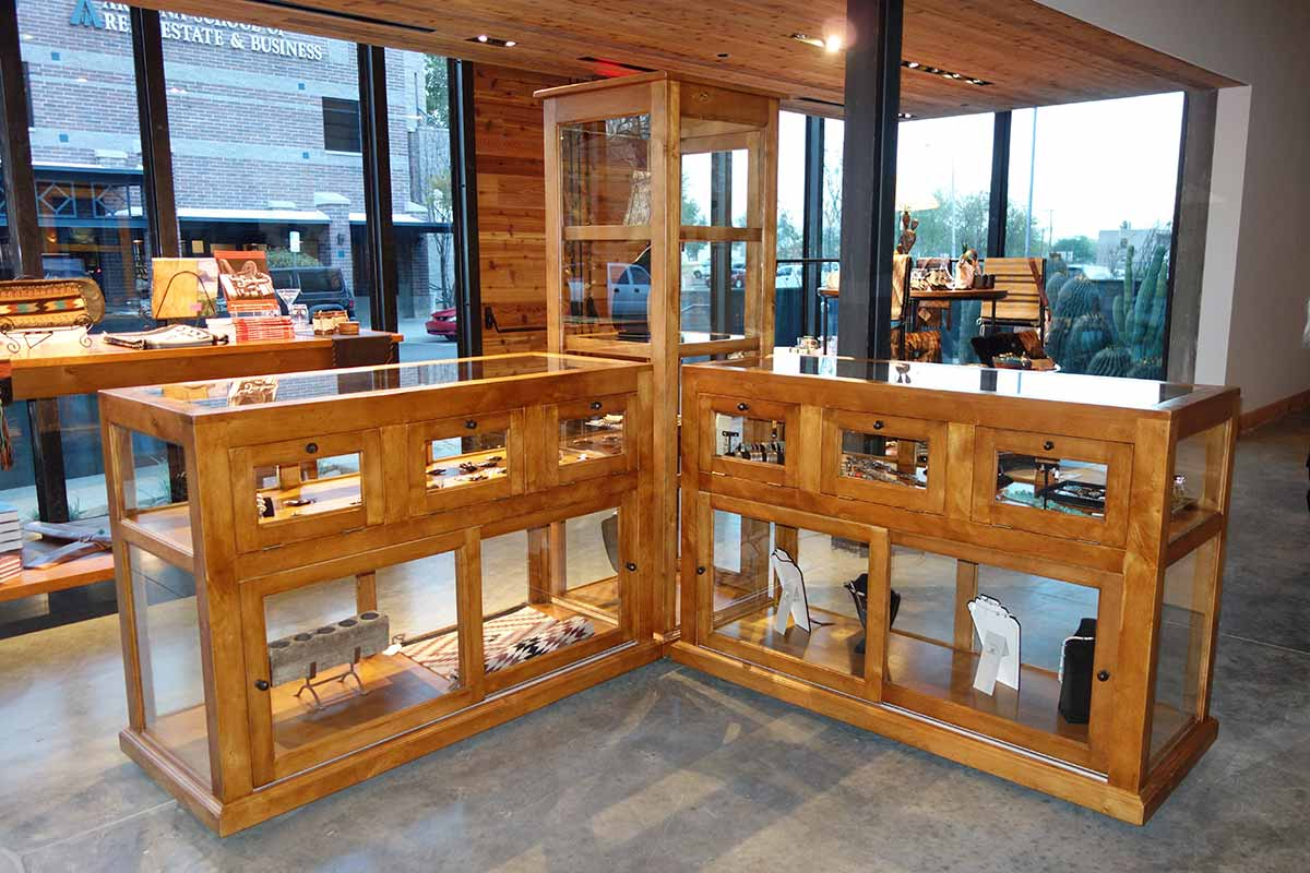 Rolling Ranch Racks, Glass Display Cabinets, Carousels, Benches and large Bookcases
