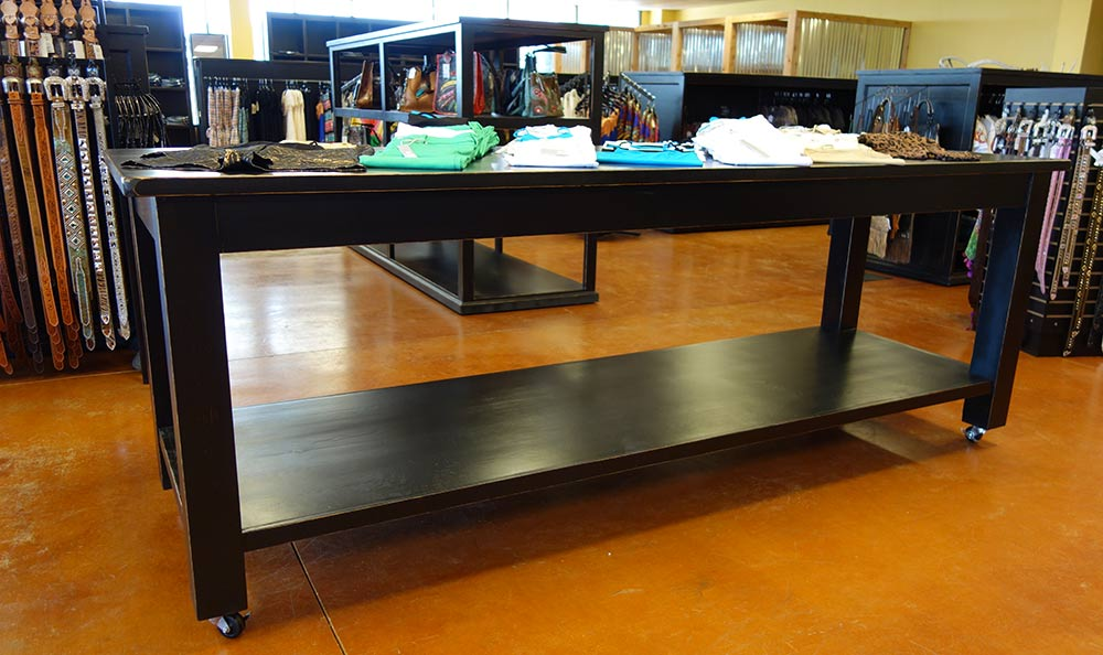 Large Display Table mounted on Industrial Casters