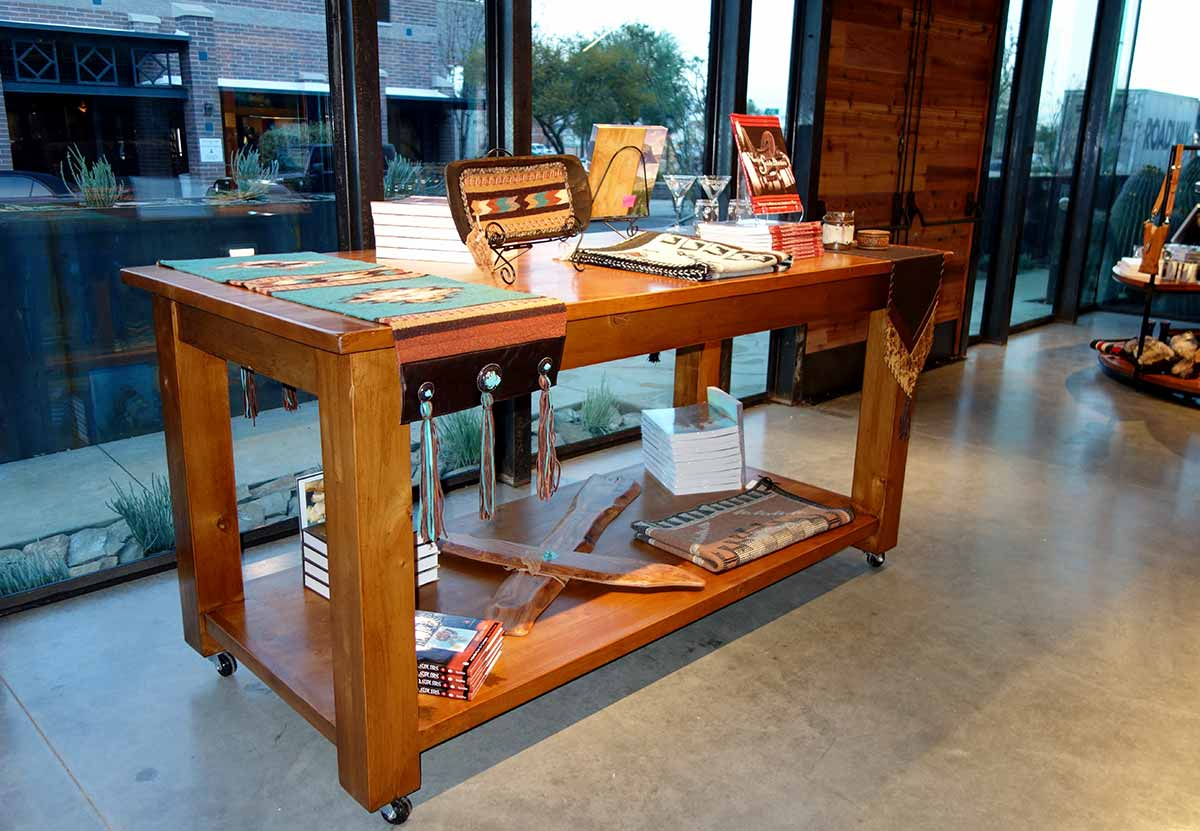 Rolling Ranch Rack Display Table mounted on Heavy Duty Industrial Casters