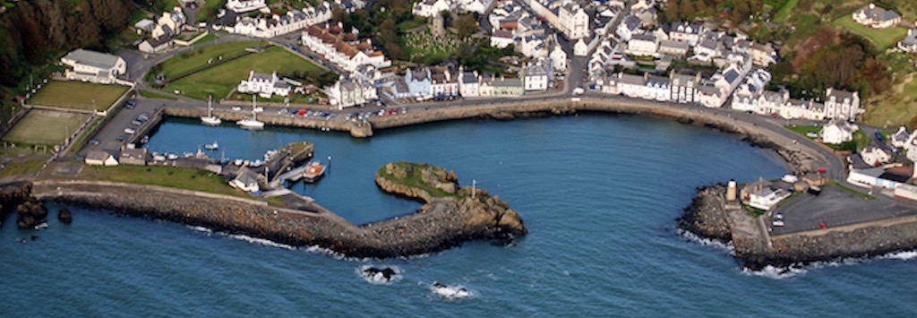 An ariel view of Portpatrick Harbour near Stranraer, Dumfries and Galloway, Scotland