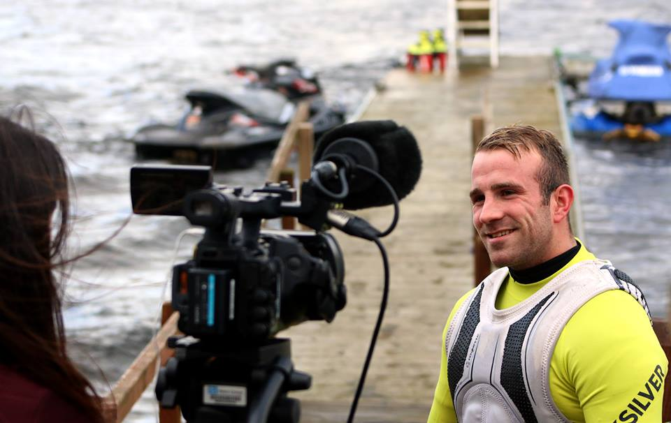 Sonnie Bean, 2016 European Flyboarding Champion, in front of the TV camera