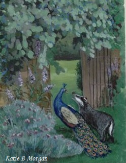 Peacock and a badger talking to each other while walking through a doorway in pretty garden.