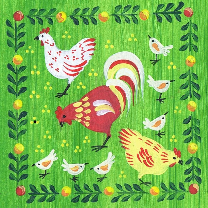 Folk art style chickens on a stripy green background with a border of leaves and berries.