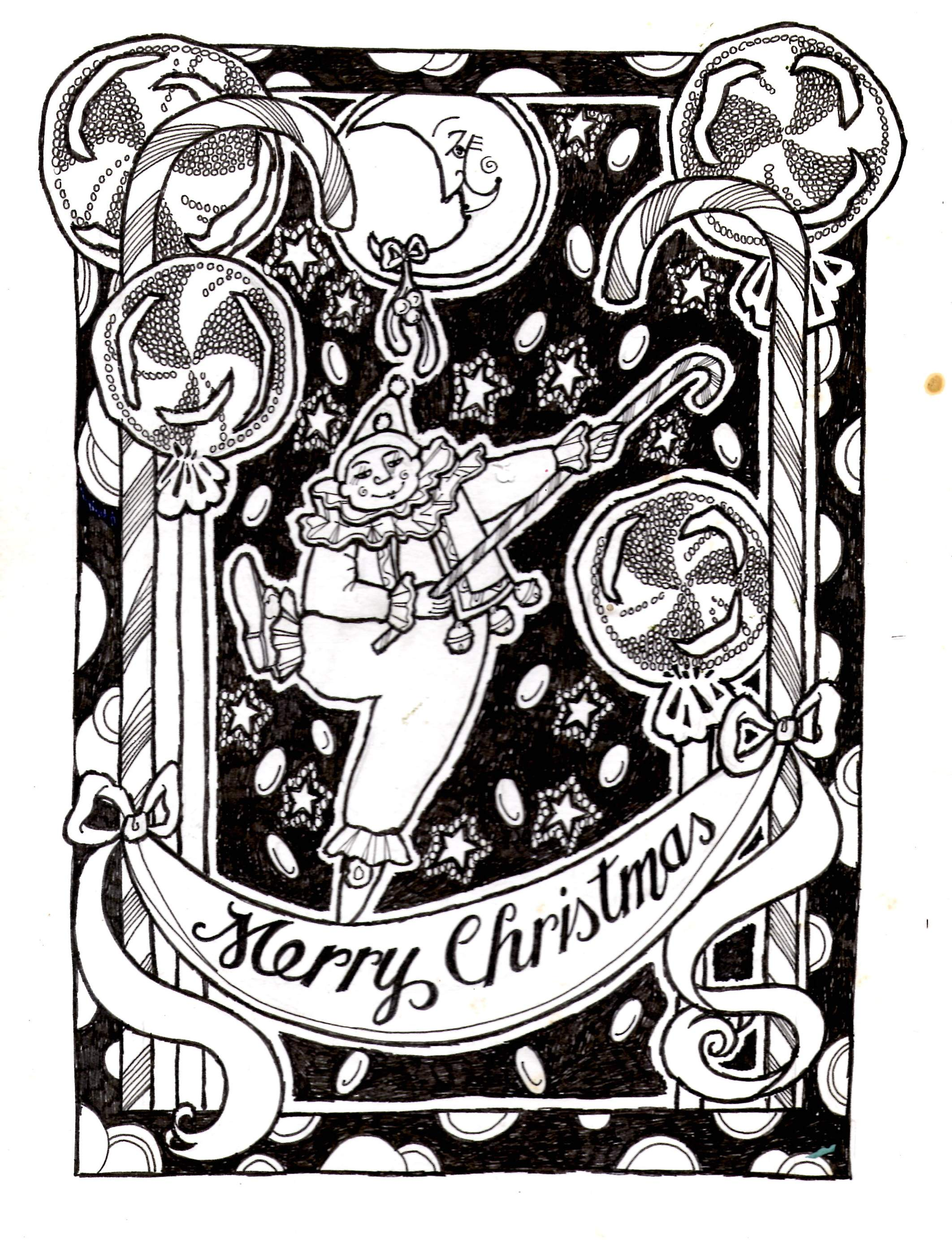 Christmas card- Dancing clown with big lollypops