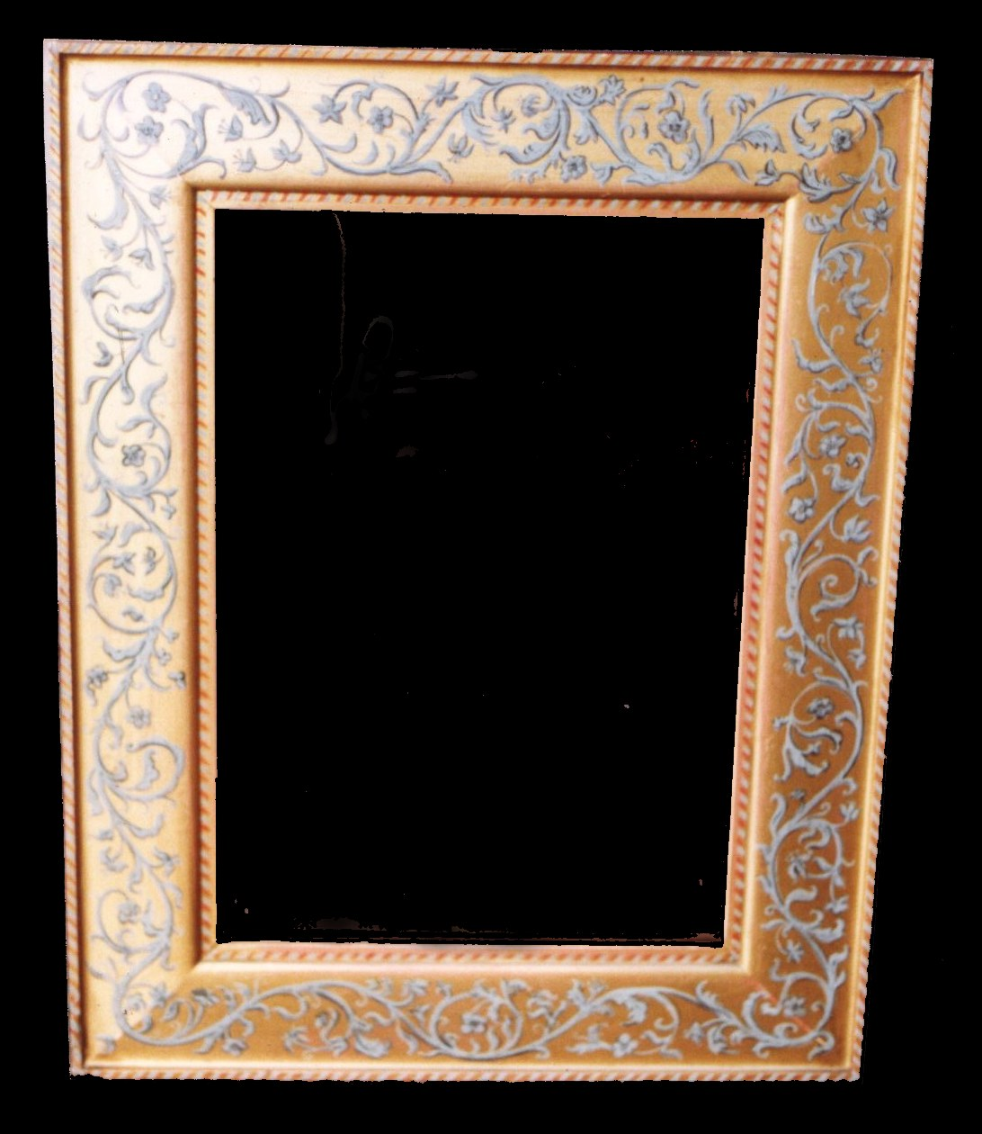 Gold rectangular frame with painted grey scrolls.