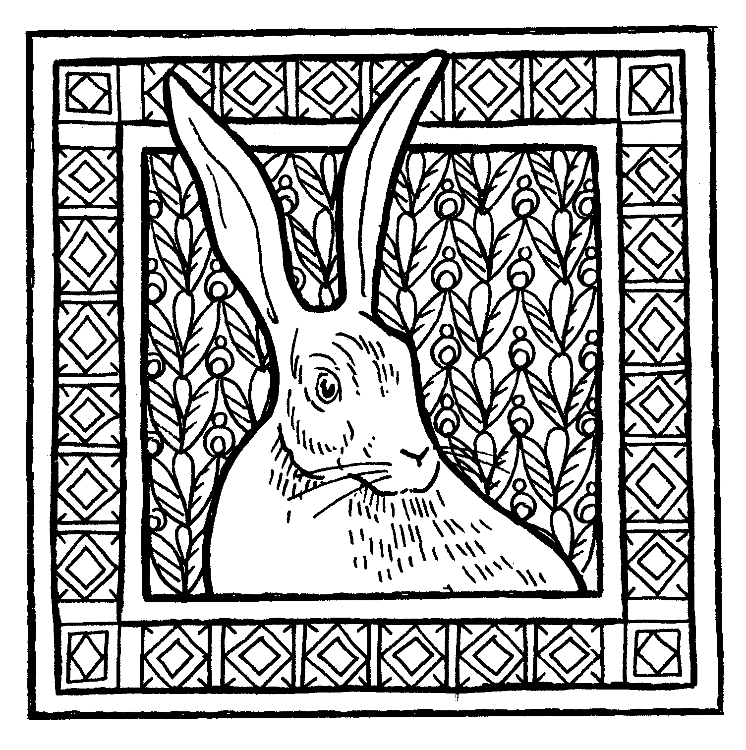 Hare in decorative square border