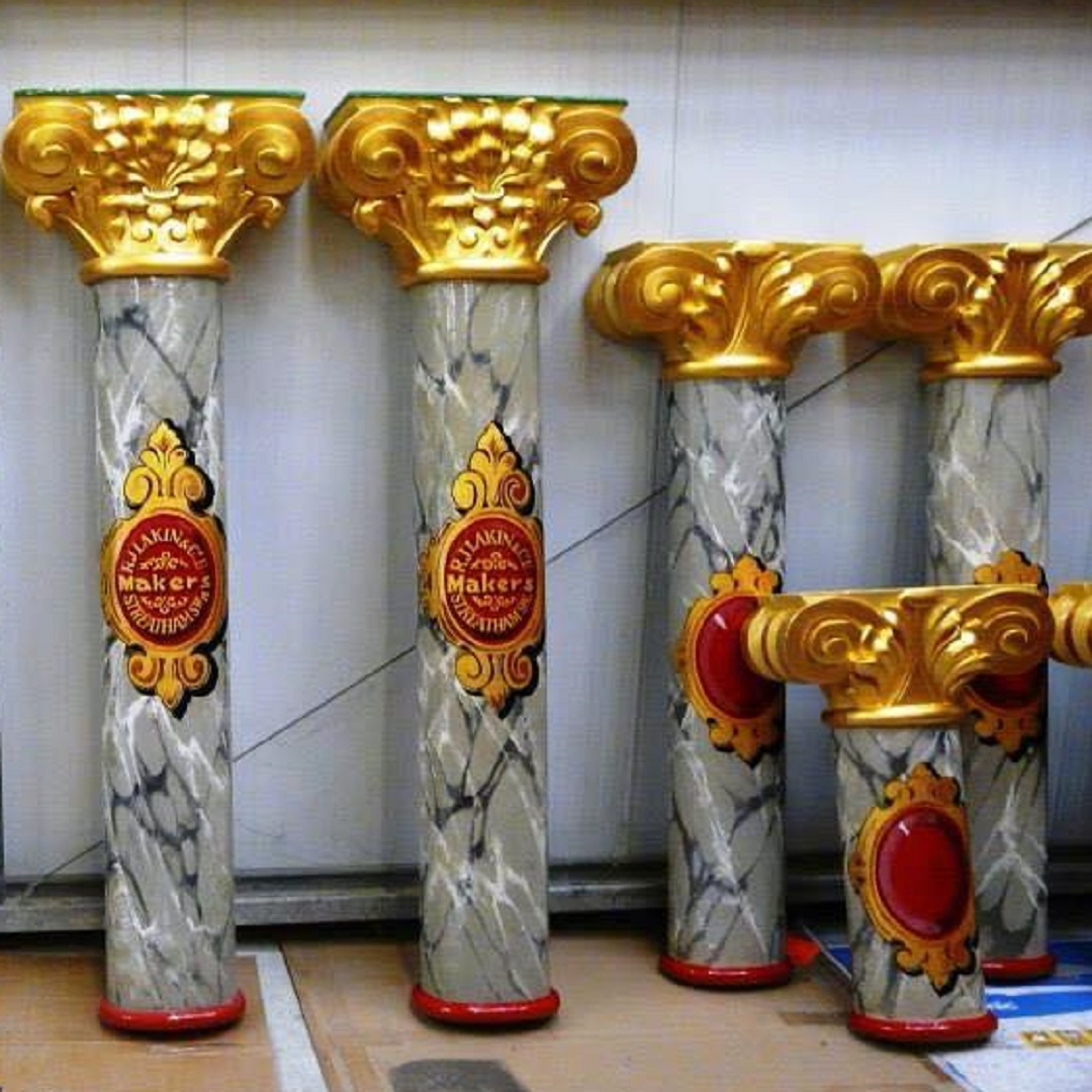 Painted fairground ride columns with grey marble and gilded tops, from Waltzer