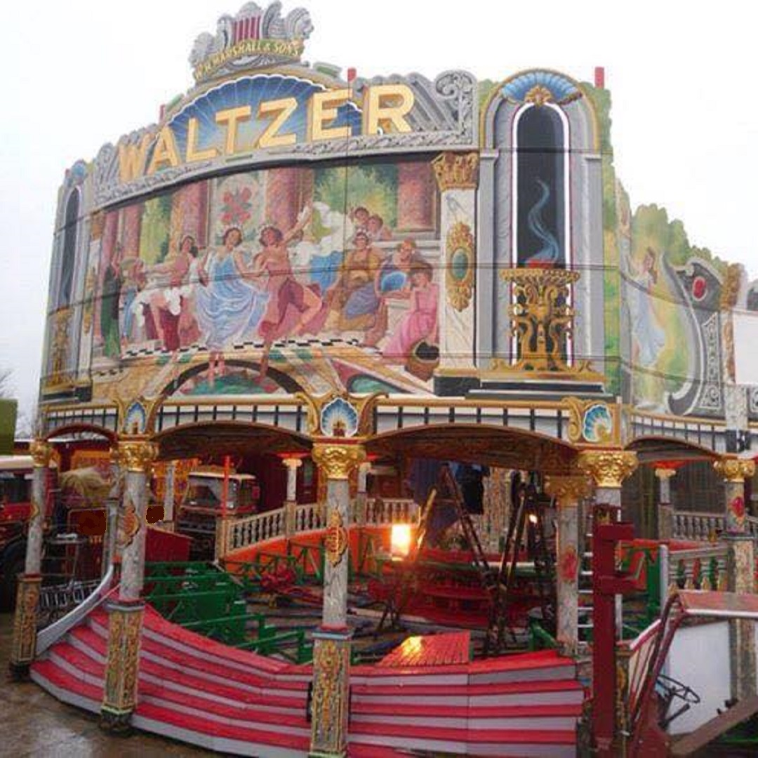 1930s Lakins Fairground Waltzer. Painted roman ladies with columns