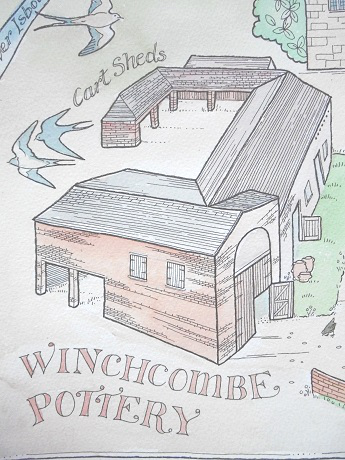 map drawing looking down onto Winchcombe Pottery building.