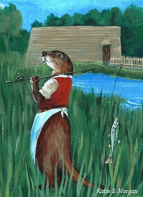 Childrens illustration of a dressed otter walking by mill pond with a fish hanging from a fishing rod.