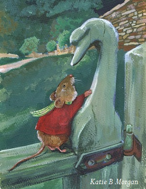 Mouse in red shirt with checked scarf talking to a wooden swan.