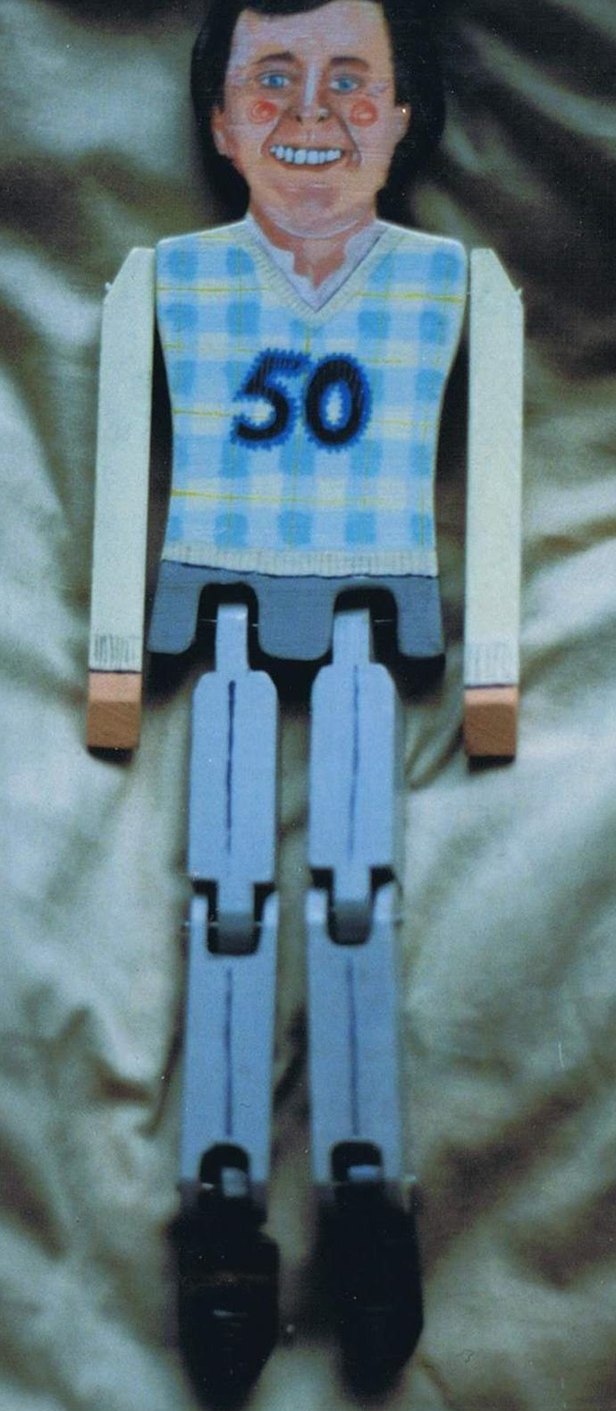 Dancing doll puppet commissioned by Pebble Mill for Terry Wogans fiftieth birthday. Sometimes known as jig dolls.