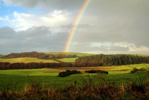 A rainbow over the Wigtownshire countryside