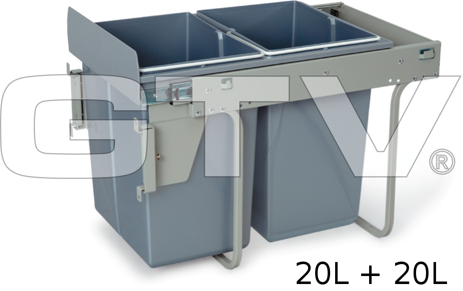 Pull Out Kitchen Waste Recycle Soft Close Bin 400mm