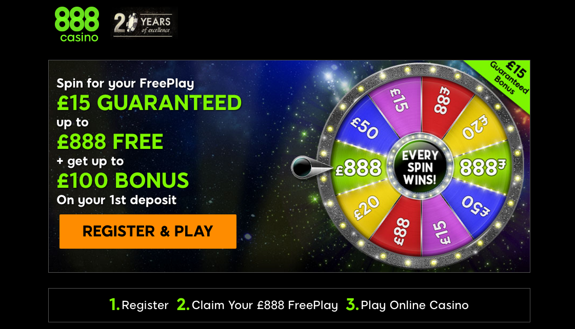 888 Casino Online get £888 to play