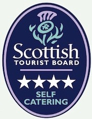 Logo of the Scottish Tourist Board, awarding a four star rating to this self-catering property at The Dairy House, Kirkcudbright