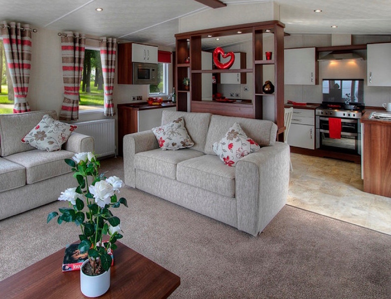 The Living Area Of A Static Caravan At Mossband Park Near Dalbeattie In South West