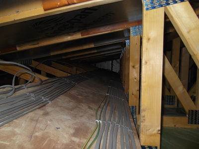 cables clipped in attic space