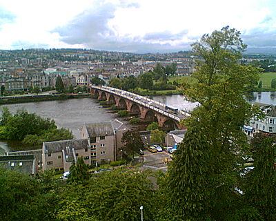 view of Perth Bridge From Potterhill Flats