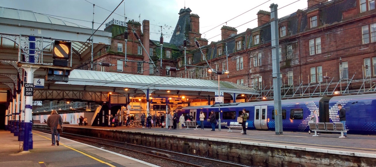 A Scotrail train at busy Ayr Station