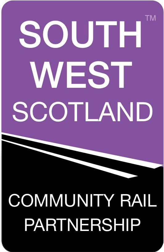 Attractive purple and black logo of the South West Scotland Community Rail Partnership designed by Peter Jeal of Great-Value-Websites.com