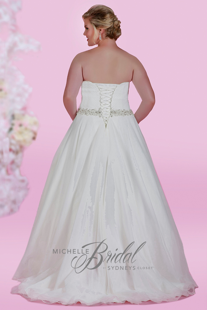 Plus size tulle wedding or ball gown with sweetheart neckline and waistline beading, front view