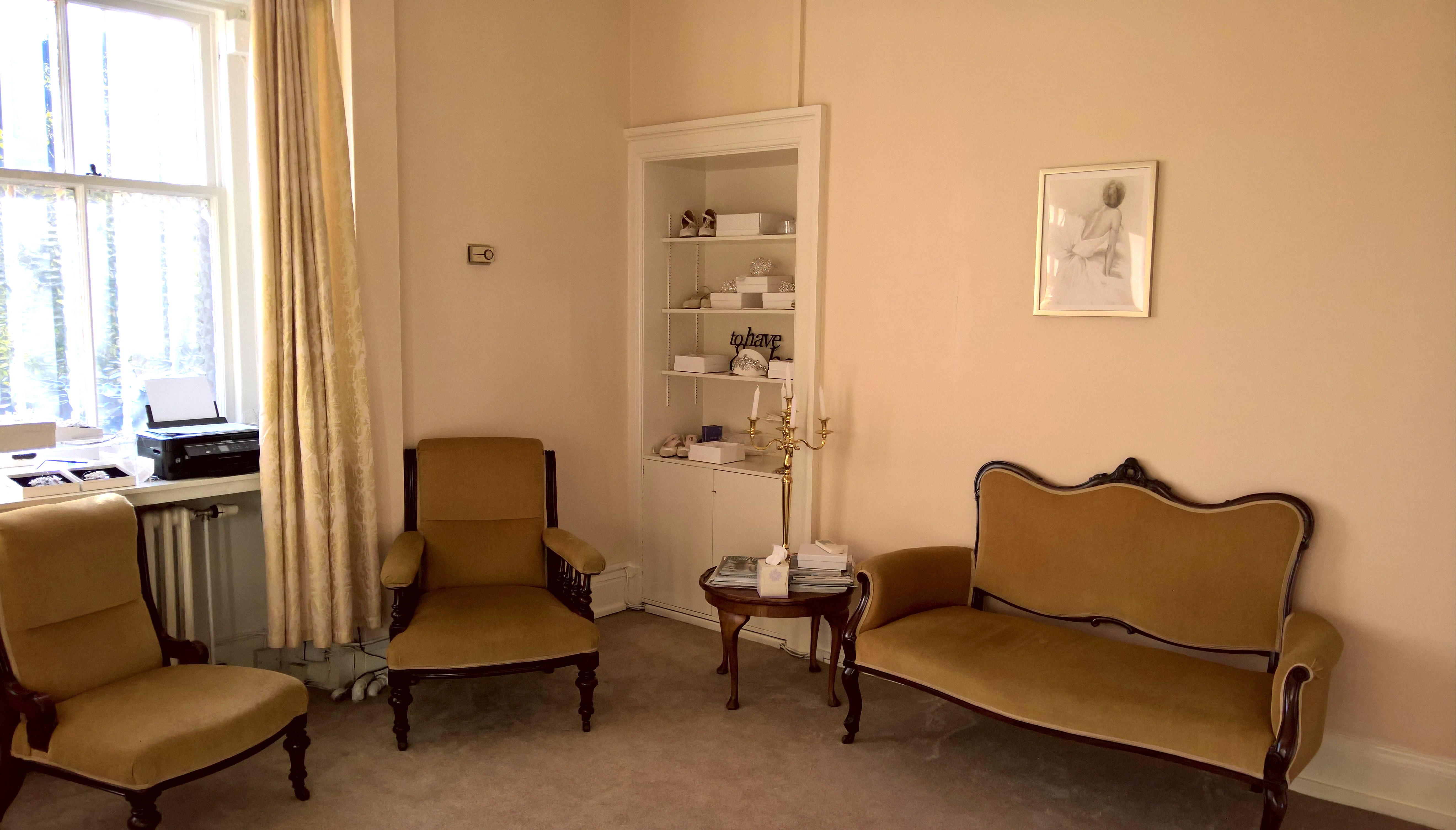 Nice comfy seats for your guests when they accompany you to Brides and Belles Boutique to help choose your wedding dress
